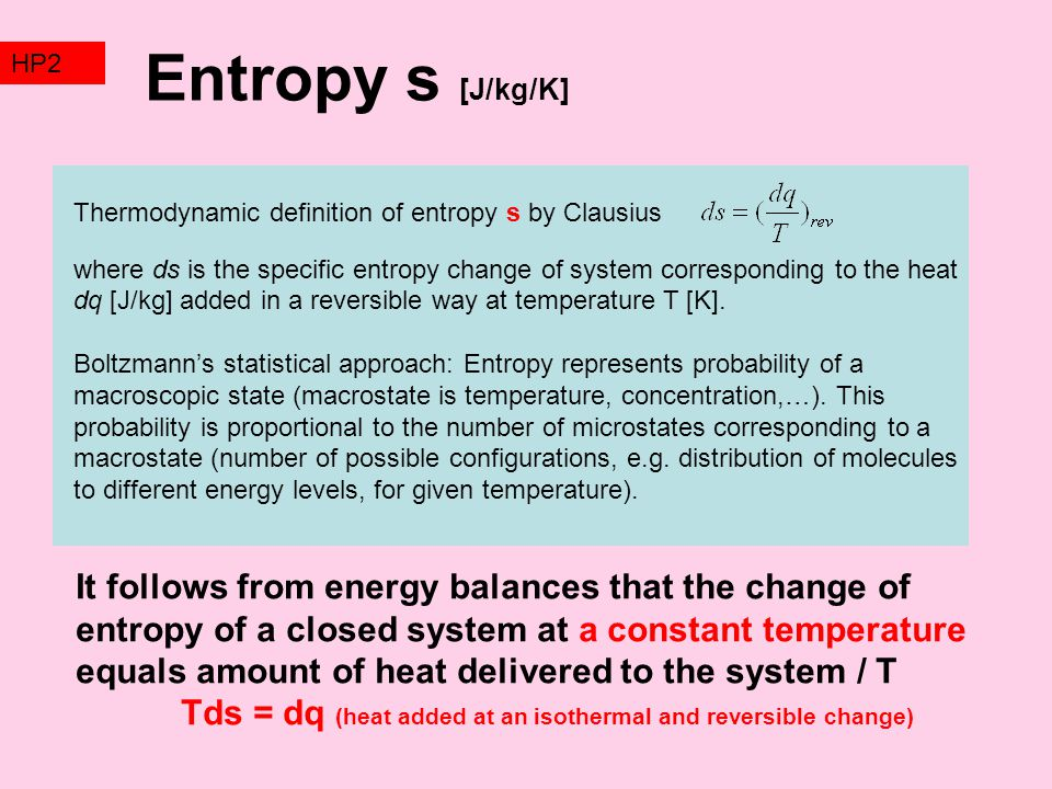 TZ2 HP2. Entropy s [J/kg/K] Thermodynamic definition of entropy s by Clausius.